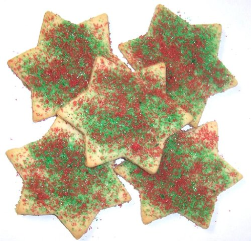 Scott's Cakes Red and Green Christmas Star Sugar Cookies in a 8 oz. Snowman Bag