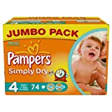 Pampers Simply Dry Couches Maxi 7-18 kg Taille 4 Format Jumbopack x 74 Lot de 2