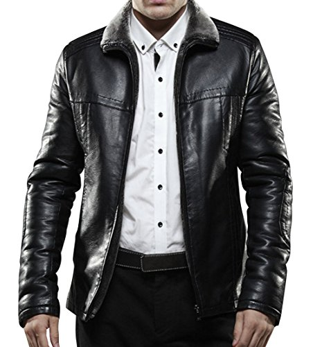 Zuok Men'S Classic Fur Collar Slim Fit Casual Business Short Winter Leather Jackets Black 3Xl Black