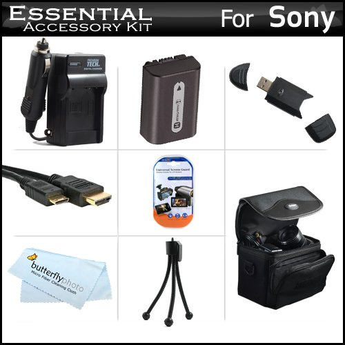 Essential Accessories Kit For Sony Cyber-Shot DSC-HX100V, DSC-HX200V Digital Camera Includes Extended (1000mAh) Replacement NP-FH50 Battery + Ac/Dc Travel Charger + Deluxe Case + Mini HDMI Cable + USB Reader + Screen Protectors + MicroFiber Cloth + More