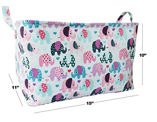 ... Canvas Toy Organizer Bins And Storage With Elephant Designs For Kids Toy  Basket And Toy Organizers ...