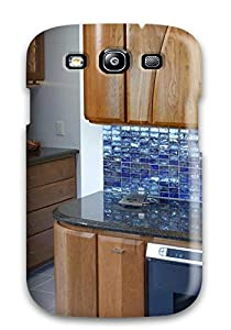 protector contemporary kitchen with blue glass tile backsplash cell