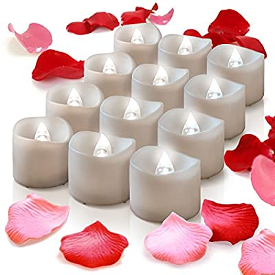 Mars Flameless Candles With Timer - Pink Red Fake Rose Petals Bulk - 12 White Bright Battery Operated Tea Lights - Flickering LED Tealights For Votives, Fall Decorations, Halloween, Christmas, Seasonal Décor,