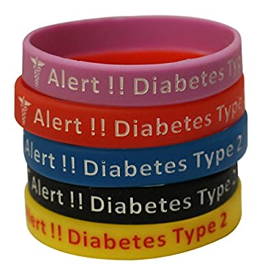 Type 2 Diabetes Bracelets Silicone Medical Alert Wristbands(Pack of 5) Blue, Yellow, Red, Black, Lavender Plus Bonus Wellness Article Included