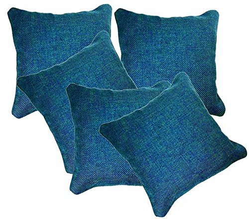 AMAZON GREAT INDIAN DIWALI SALE DISCOUNT - Belive-Me Classic Jute Cotton Blue Cushion Covers (16X16 Inches) Set Of 5
