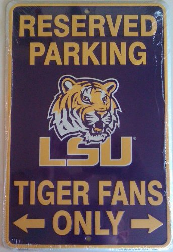 "Reserved Parking LSU Tiger Fans Metal Sign (8""x12"") at Amazon.com"