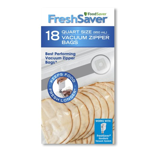 FoodSaver Quart-Sized Vacuum Zipper Bags with unique multi layer construction, BPA free, Pack of 18 (Foodsaver Vacuum Bags Pint Size compare prices)