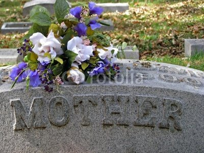 """Wallmonkeys Peel and Stick Wall Decals - Silk Flowers on a Cemetery Grave Headstone Mother - 24""""W x 18""""H Removable Graphic"""