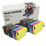 10pk Epson T254xl T252xl Compatible Replacement Inks(4 Black T254xl120, 2 Cyan T252xl220, 2 Magenta T252xl320, 2 Yellow T252xl420) for Use in the Epson Workforce Wf-3620, Wf-3640, Wf-7110, Wf-7610, Wf-7620