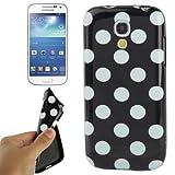 Fone-Stuff Fashion Polka Dot Soft Silicone Gel Case for Samsung Galaxy S4 Mini - Black with White Spots