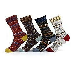 Waymoda Unisex 4 Pairs Fairisle Pattern Ankle Crew Socks, Classic Vintage Assorted Colours Knitted Jacquard Calf Ribbed cuffs Cotton Stocking, Adults Women/Men/Boys/Girls UK 2-7/EUR 34-40
