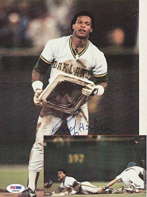 Rickey Henderson Oakland Athletics Autographed Magazine Page Photo A's - PSA/DNA Authentic