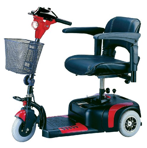 Drive Medical Phoenix 3 Wheel Compact Portable Travel Power Scooter, Red / Blue