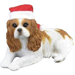 #!Cheap Sandicast Ruby Cavalier King Charles Spaniel with Santa Hat Christmas Ornament