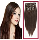 Full Head Clip-In 100% Remy Human Hair Extensions - #6 Medium Brown (20 Inches Long)