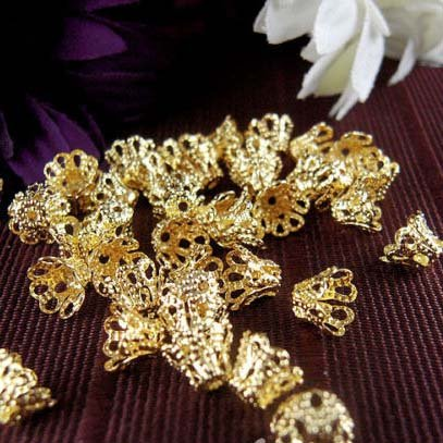 100pcs Gold Plated Filligree Flower Cup Shape Bead Caps 7mm