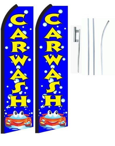 Car Wash Blue Standard Size Swooper Feather Flag Sign with Full Assembly Pole and Ground Spike Pk of 2 (Feather Flag Car Wash compare prices)