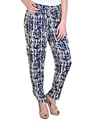 NAVY ABSTRACT STRAIGHT TROUSERS