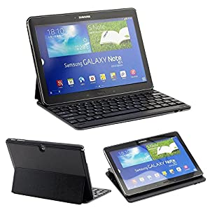 RuiLida Wireless Bluetooth Keyboard Case For Samsung Galaxy Note10.1 2014 Edition P600 Black