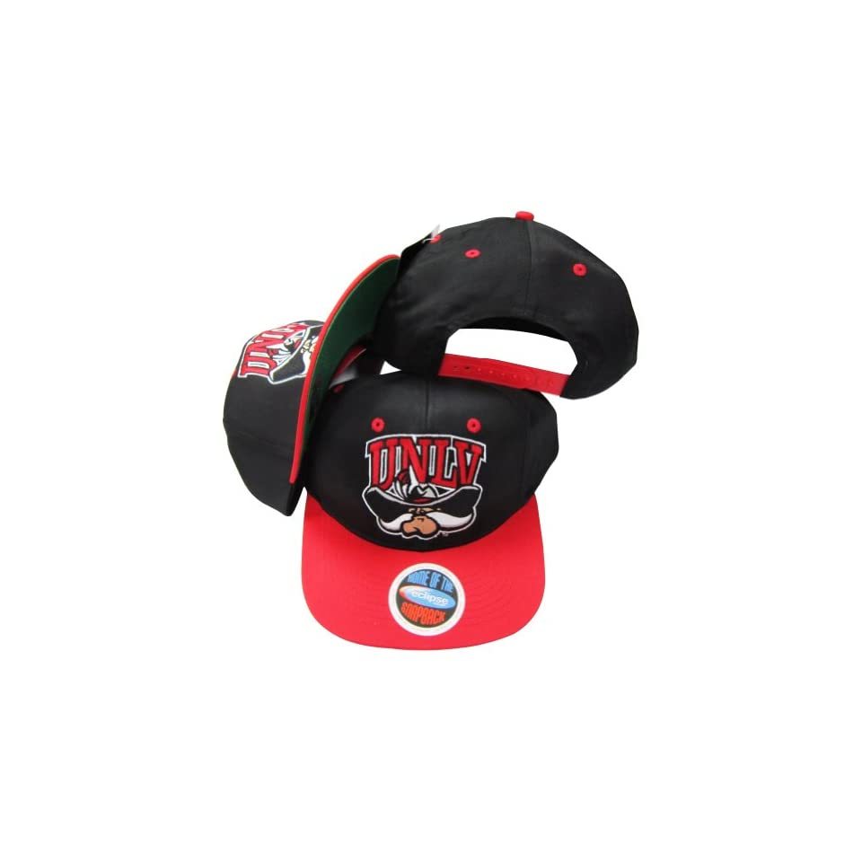 UNLV Runnin Rebels Black Red Two Tone Plastic Snapback Adjustable Plastic  Snap Back Hat   0003bdc6ac8c