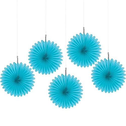 Amscan Party Perfect Mini Hanging Fan Decorations, Blue, 6