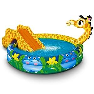 Piscina gonfiabile playground giraffa con scivolo per bambini 152 x 25 cm 237 litri - Piscine gonfiabili per bambini toys ...