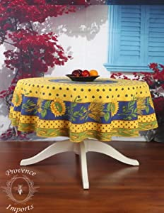 "Tournesol Yellow 70"" Round French Provencal Polyester Tablecloth"