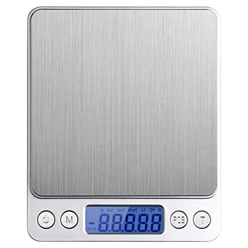 Etekcity Digital Pocket Scale 0.1g/2000g with Back-Lit LCD Display in Stainless Steel