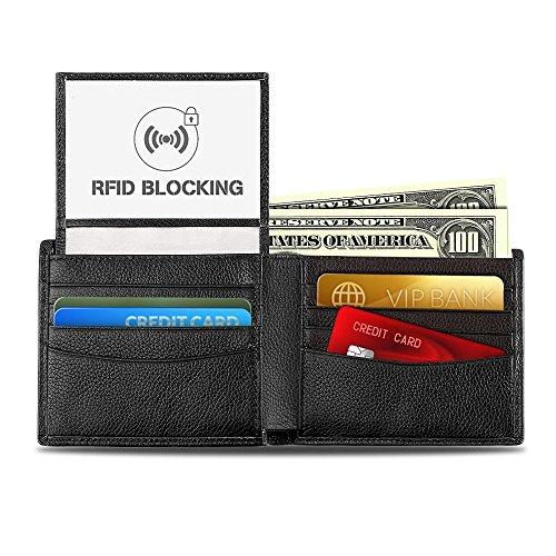 OXA Portefeuille en Cuir Blocage de RFID pour Homme, Pliable et Multiples Rangements pour Carte, Protection des Cartes de Crédit, Emballage Cadeau Inclus (Noir)