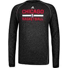 Chicago Bulls Heather Black Climalite Practice Long Sleeve Shirt by Adidas by adidas