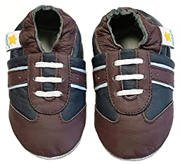 Ministar Boys Baby Infant Toddler Prewalker Leather Shoes - Navy & Brown - Medium 6-12 mo.