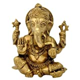 "Redbag Lord Ganpati Dev - Brass Sculpture ( 6""H X 5""W X 2.75""D )"