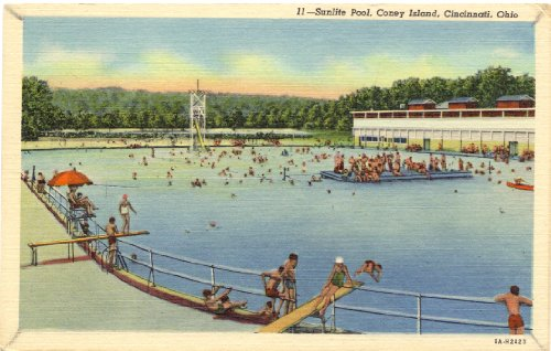 1950s Vintage Postcard - Sunlite Pool - Coney Island - Cincinnati Ohio