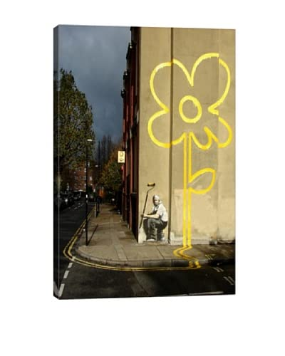 Banksy Yellow Lines Flower Painter Giclée On Canvas