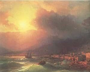 Peinture à l'huile sur toile -14 x 11 inches / 36 x 28 CM - Ivan Aivazovsky - Vue de Yalta, le so...