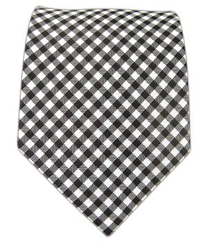 100% Silk Woven Black and White Checked Out Patterned Tie