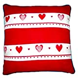 Homeblendz Cotton Red/white 40x40 Cushion Cover With 2 Layers Of Printed Border In Heart Design