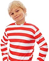 Child's Where's Wally Red and White Striped Long Sleeve T-Shirt/ Jumper - SMALL 4-6 Years