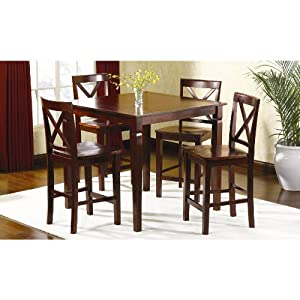 Com Dining Table And Dining Chairs 5 Pc Mahogany High Top Table Set