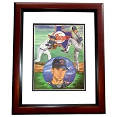 Nolan Ryan Autographed Hand Signed Texas Rangers 11x14 Photo MAHOGANY CUSTOM FRAME...