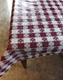 "Blue Hill, Maroon, 52""x90"", Classic Tavern Check, Flannel Backed, Vinyl Tablecloth ""Made in the U.S.A"""