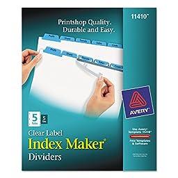 Index Maker Divider w/Color Tabs, Blue 5-Tab, Letter, 5 Sets/Pack - AVE11410