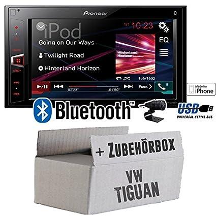 VW Tiguan - Pioneer MVH-AV280BT - 2DIN USB Bluetooth Touch - Autoradio - Einbauset