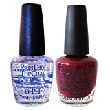 O.P.I Mini Nail Lacquer Set of 2 - In the Cable Car-Pool Lane & RapiDry Top Coat 1/8 fl. oz