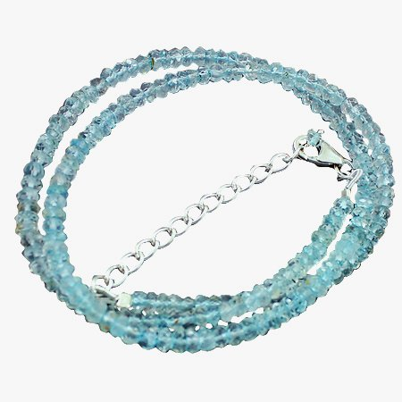 925 Sterling Silver Artisan Apatite Gemstone Beads Strand Necklace Size 18 Inches