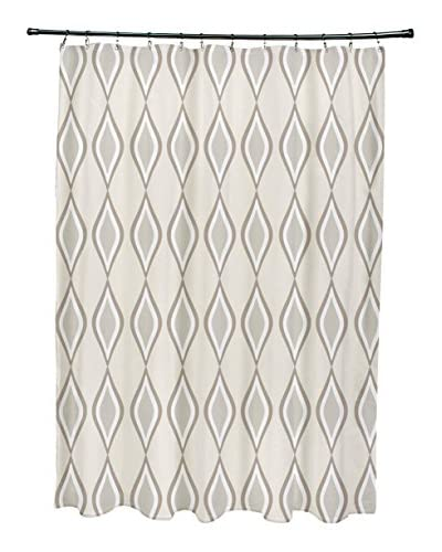 e by design Ogee Shower Curtain, Ivory/Grey
