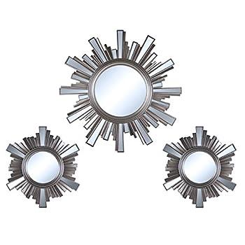 3 Piece Art Deco Sunburst Wall Mirrors Set