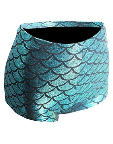 Roewe Women's Metallic High-Waist Mermaid Fish Scale Shorts