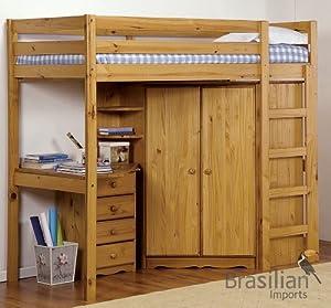 """Verona Design Antique Pine Rimini Student High Bed 3'0"""" inc Corner wardrobe, Shelves and 4 Drawer Bedside Cabinet, Excluding Mattress"""