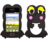 Frog Silicone Case Cover Skin For Samsung Galaxy Ace S5830 / Black